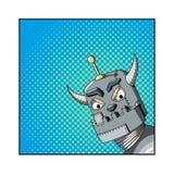 Illustration för popkonst av en ond robot Arkivbilder