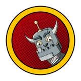Illustration för popkonst av en ond robot Royaltyfri Foto