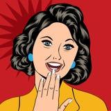 Illustration för popkonst av en skratta kvinna vektor illustrationer