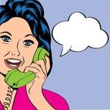 Illustration för popkonst av en skratta kvinna Arkivfoton