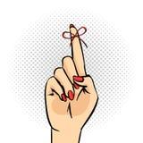 Illustration för popkonst av handen med påminnelseraden på fingret Royaltyfri Foto