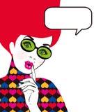 Illustration för popkonst av kvinnan med anförandebubblan i exponeringsglas Flicka för popkonst Etikett för tetidtappning vektor  Royaltyfria Foton