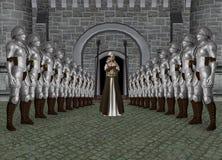 Illustration för prinsessa Castle Entrance Knight Arkivfoton