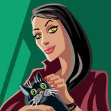 Illustration för röd häxa och för svart katt Royaltyfri Bild