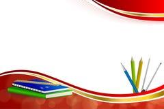 Illustration för ram för band för gul guld för passare för gem för blyertspenna för penna för linjal för anteckningsbok för blått Fotografering för Bildbyråer