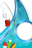 Illustration för ram för gul gräsplan för sked för flöte för vit för metspö för bakgrundsabstrakt begreppblått röd fisk för hink  Royaltyfri Fotografi
