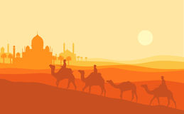 Illustration för Ramadankareemsolnedgång En kontur för manrittkamel med solnedgångmoskén royaltyfri illustrationer