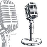 Illustration för registreringsapparatmikrofonvektor som isoleras på vit enter royaltyfri illustrationer