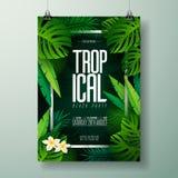 Illustration för reklamblad för parti för vektorsommarstrand med typografisk design på naturbakgrund med palmblad royaltyfri illustrationer