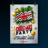 Illustration för reklamblad för julparti med gåvaasken, den guld- stjärnan, exponeringsglasbollen och typografibokstäver på vit b royaltyfri illustrationer