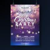 Illustration för reklamblad för julparti med ljusgirlanden och typografibokstäver på skinande blå bakgrund Vektorferie vektor illustrationer