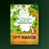 Illustration för reklamblad för parti för dag för St Patrick ` s med växt av släktet Trifolium och typografibokstav på abstrakt b stock illustrationer