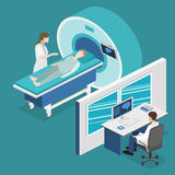 Illustration för rengöringsduk för mri för isometriskt begreppssjukhus för lägenhet 3D medicinsk Arkivbilder