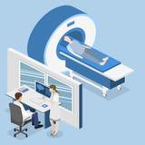 Illustration för rengöringsduk för mri för isometriskt begreppssjukhus för lägenhet 3D medicinsk Royaltyfria Bilder