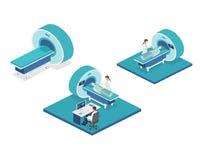 Illustration för rengöringsduk för mri för isometriskt begreppssjukhus för lägenhet 3D medicinsk Arkivbild