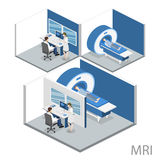 Illustration för rengöringsduk för mri för isometriskt begreppssjukhus för lägenhet 3D medicinsk Royaltyfria Foton