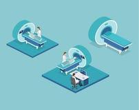 Illustration för rengöringsduk för mri för isometriskt begreppssjukhus för lägenhet 3D medicinsk Royaltyfri Bild