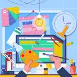 Illustration för rengöringsdukdesign och frilansbegrepps Rengöringsdukutveckling Prototyp för wireframe för användargränssnitt fö vektor illustrationer