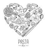 Illustration för restaurang för pasta för vektortappning italiensk i sh hjärta Arkivbild
