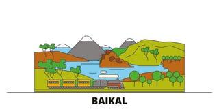 Illustration för Ryssland Baikal plan gränsmärkevektor Ryssland Baikal linje stad med berömda loppsikt, horisont, design stock illustrationer