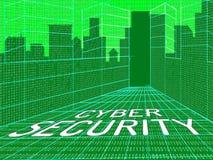 Illustration för säkerhet 3d för Cybersecurity begreppsDigital Cyber stock illustrationer