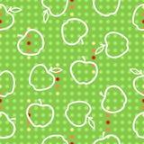 Illustration för sömlös modell för Apple frukt röd grön vit Royaltyfri Bild