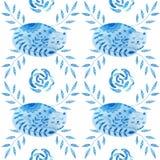 Illustration för sömlös modell för vattenfärg färgrik med härliga blommor och katter Skandinavisk stil kanna för konstkeramikfolk Royaltyfria Bilder