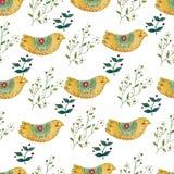 Illustration för sömlös modell för vattenfärg färgrik med härliga fåglar och blommor Skandinavisk stil kanna för konstkeramikfolk Royaltyfria Foton