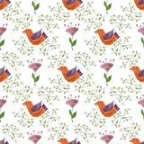 Illustration för sömlös modell för vattenfärg färgrik med härliga fåglar och blommor Skandinavisk stil kanna för konstkeramikfolk Royaltyfria Bilder