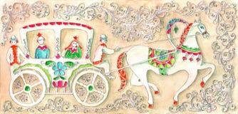 Illustration för sagan, vattenfärg Utfört i rysk stil Royaltyfria Bilder