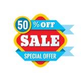 Illustration för Sale 50% av - vektorbegrepp i plan stil Abstrakta advertizingbefordranbaner på vit bakgrund Arkivbilder