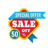 Illustration för Sale 50% av - vektorbegrepp i plan stil Abstrakta advertizingbefordranbaner på vit bakgrund Arkivfoto