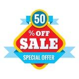 Illustration för Sale 50% av - vektorbegrepp i plan stil Abstrakta advertizingbefordranbaner på vit bakgrund Fotografering för Bildbyråer