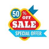 Illustration för Sale 50% av - vektorbegrepp i plan stil Abstrakta advertizingbefordranbaner på vit bakgrund Arkivbild