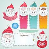 Illustration för Santa Claus och julbaneruppsättning Fotografering för Bildbyråer