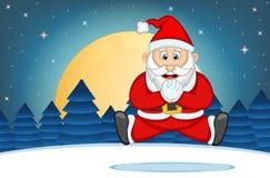 Illustration för Santa Claus With Star, himmel- och snökullebakgrundsvektor Arkivbild