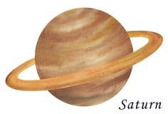 Illustration för Saturn planetakvarell Hand som dras på vitbaksida stock illustrationer
