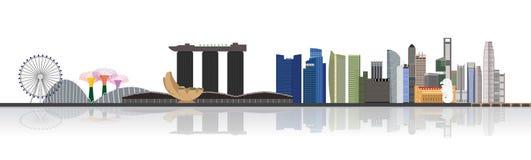 Illustration för Singapore stadshorisont Royaltyfri Foto