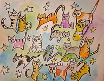 Illustration för sjutton katter Fotografering för Bildbyråer