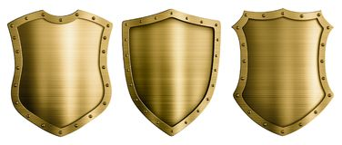 Illustration för sköldar 3d för guld- eller bronsmetall medeltida stock illustrationer