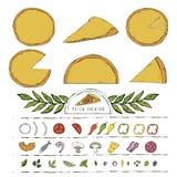 Illustration för skapare för vektorpizzakonstruktör med olika ingredienser royaltyfri illustrationer