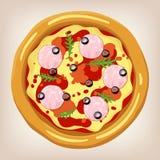 Illustration för skinka- och Arugulapizzavektor Stock Illustrationer