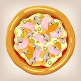 Illustration för skinka- och champinjonpizzavektor Vektor Illustrationer