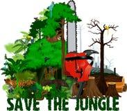 Illustration för skogsavverkningdjungelvektor VektorRainforest som förstörs med djur royaltyfri illustrationer