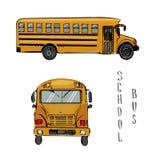 Illustration för skolagulingbuss Skissa vektorn av sikten för två sidor av bussen amerikansk utbildning Isolerat på vit royaltyfria foton