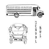 Illustration för skolagulingbuss Skissa vektorn av sikten för två sidor av bussen amerikansk utbildning Isolerat på vit arkivfoton