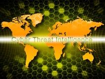Illustration för skydd 3d för Cyberhotintelligens online- stock illustrationer