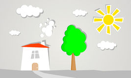 Illustration för sol för landskapträdhus Fotografering för Bildbyråer