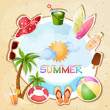 Illustration för sommarferie Arkivbilder