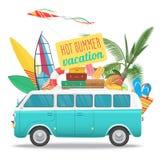 Illustration för sommarloppvektor med tappningbussen Strandbegreppslogo Sommarturism, lopp, tur och surfare stock illustrationer